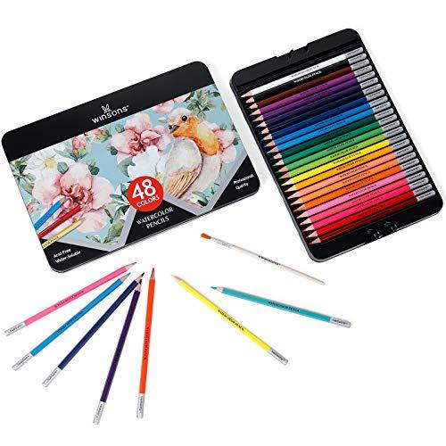 WINSONS 48 Farben Buntstifte Professionell Bleistifte für Kinder und Erwachsene zum Zeichenen und Malen