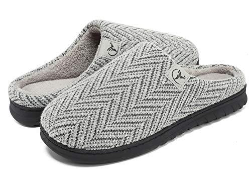 VIFUUR Hombre Zapatillas de casa Espuma de Memoria de Alta Densidad Cálido Interior Lana al Aire Libre Forro de Felpa Suela Antideslizante Zapatos Plata Gris 42/43