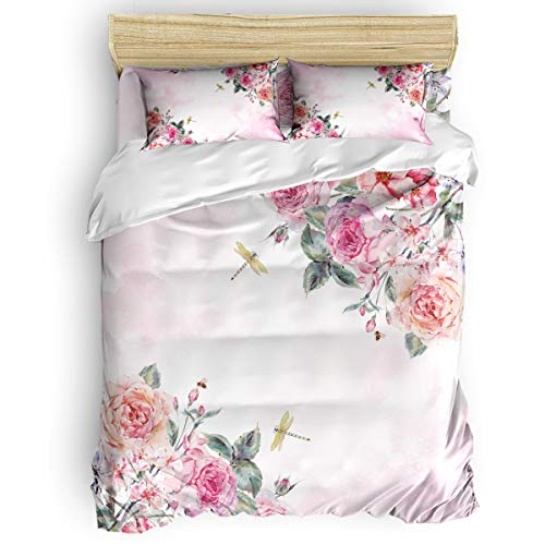4 Pieces Luxury Duvet Cover Set Flowers Dragonfly for Kids/Girl/Women/Adults Spring Pink Floral Breathable Bedding Comforter Cover Sets with Zipper, 4 Corner Ties Queen