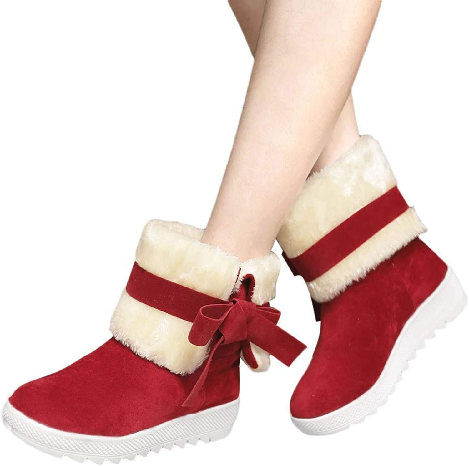 KAOKAOO Women Snow Boots Solid color Classical Bowtie Slip-On Student Casual shoes