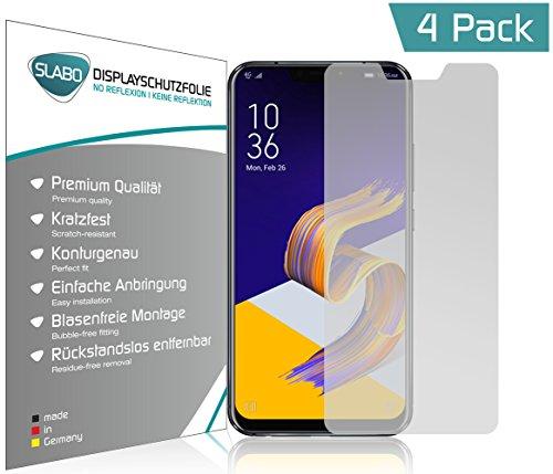 Slabo 4 x Bildschirmschutzfolie für Asus Zenfone 5Z (2018) Bildschirmfolie Schutzfolie Folie Zubehör(verkleinerte Folien, aufgr& der Wölbung des Bildschirms) No ReflexionMATT - entspiegelnd Made IN Germany