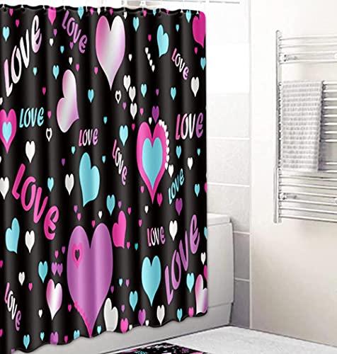 Cartoon Liebe Herz Buchstaben Duschvorhänge Wasserdicht Badezimmer Gardinen Trennvorhang Schimmel Proof Bad Vorhang Mit 12 Haken 180 X 180 cm