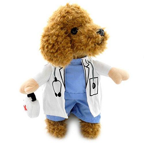 Pegasus Doctor Costume Fancy Dress Costume pour chien Manteau médecine boîte décorée toutes les saisons, blanc, bleu pour petit chien chat chiot
