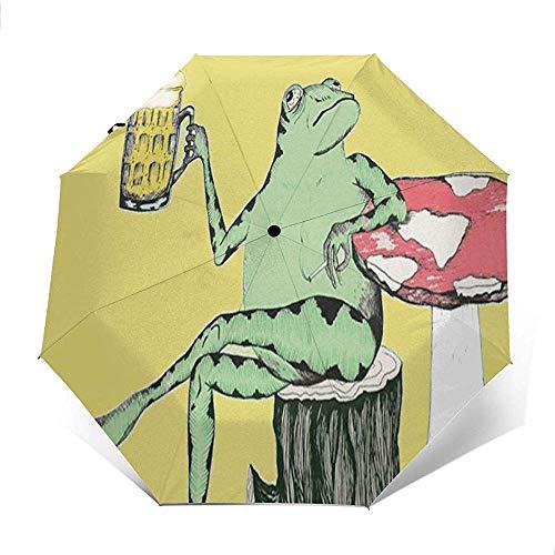 Cy-ril-Automatic tri-fold umbrella Automatischer dreifachgefalteter Regenschirm Frosch Trinken Bier Drucken Winddicht Kompakt Automatischer Dreifachgefalteter Regenschirm