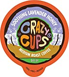Crazy Cups Decaf Flavored Coffee, Honey Lavender Hot Or Iced Coffee, Recyclable Pods, 22 Count