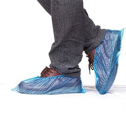 Vanker – 100 cubrezapatos desechables de plástico azul impermeables