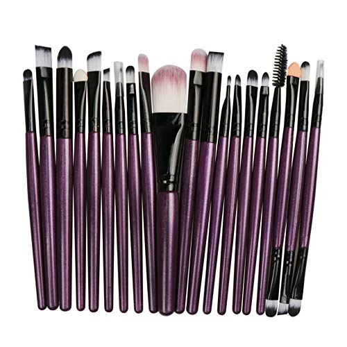 Makeup Brush Set 20Pcs Professional Makeup Tools Premium Synthetic Foundation Powder Blush Shadow Brushes Concealers Eye Cosmetics Make Up Brushes Kit Purple
