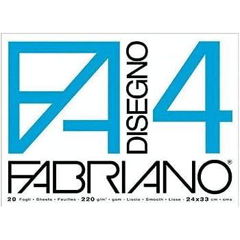 Fabriano 05200597 Disegno 4 Set 20 Fogli, Liscio, 24 x 33 cm, 220 g/mq