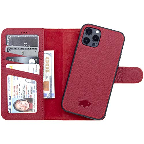 BlackBrook Case iPhone 12 Pro Max Wallet Case - Carson Genuine Leather Detachable Wallet Case - Magnetic Snap-on Card Holder with Kickstand (iPhone 12 Pro Max (6.7