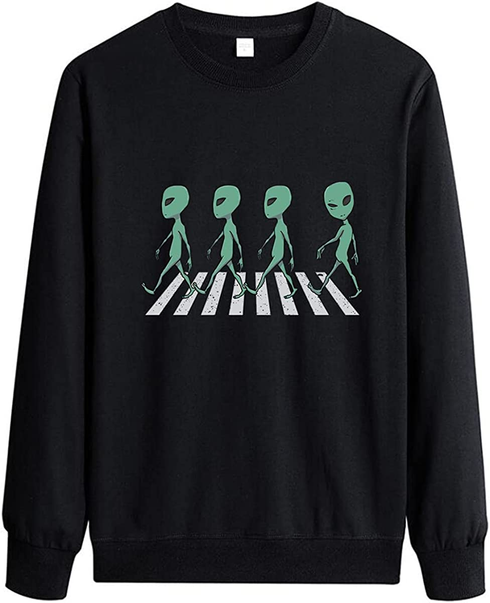 Men's Alien Cotton Fun Pullover Printed Pullover Printed Long Sleeve Pullover