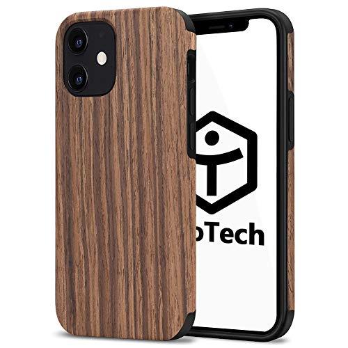 【TaoTech】 iphone 用 TPU ケース 天然木 木製 木目 原木 薄型 木調 シリコン 全機種 対応 スマホ カバー (iphone12mini, 黒胡桃)