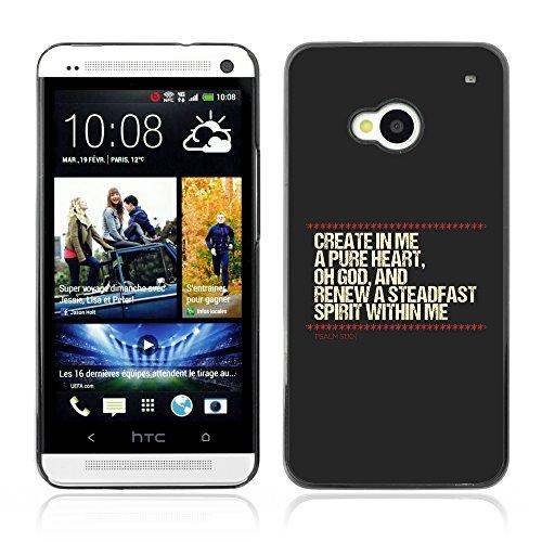 DREAMCASE (NICHT HTC ONE MINI M4) Bibelzitate Bild Hart Handy Schutzhülle Schutz Schale Case Cover Etui für HTC ONE M7 - Psalm 51:10 puriert Herz