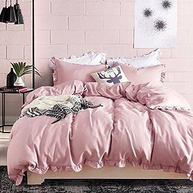 Hyprest Lace Duvet Cover Set King Lightweight Soft Solid Color 3PC Bedding Set with Exquisite Flouncing Blush