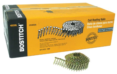 BOSTITCH CR2DGAL 1-Inch 15 Degree Smooth Shank Coil Roofing Nails (7,200 per Box)