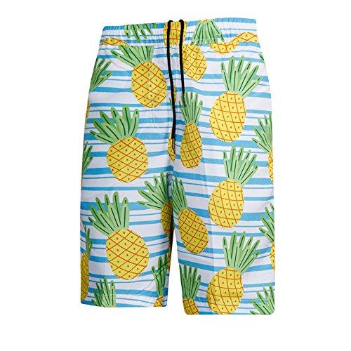 Zyangg-Home Zwembroek voor heren Gestreepte ananas Gedrukt Snelle Droge Losse Zwembroek voor heren Casual Shorts Snelle Droge Shorts