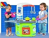 Unbekannt Spielküche mit Theke, Waschmaschine, Ofen, Waschbecken, 12-TLG. Zubehör: Spielzeug Küche Kinder Spielküche Kinderküche Puppenküche Spiel Herd Backofen