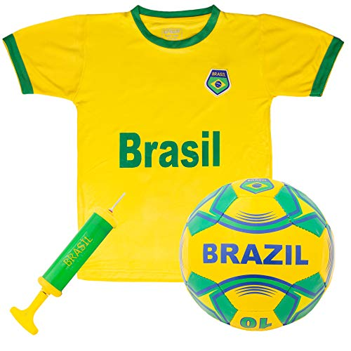 Brazil National Team Kids Soccer Kit | Kit Includes a Jersey, Shorts, and Soccer Ball Adorned with Green and Yellow Design | World Cup Youth Attire, Premium Gift for Soccer/Football Fans (X-Large)