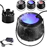Kindlyperson Halloween Witch Cauldron Fog Maker Halloween Party Mist Maker Fogger Water Fountain Pond Fog Machine with 12 Color Changing LED Light, Halloween Party Prop Decorations