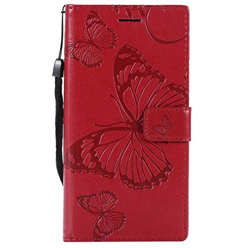 DENDICO Cover Sony Xperia XZ1, Pelle Portafoglio Custodia per Sony Xperia XZ1 Custodia a Libro con Funzione di appoggio e Porta Carte di cRossoito - Rosso