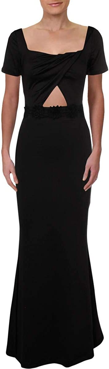 bebe Womens Square Neck Cut-Out Formal Dress