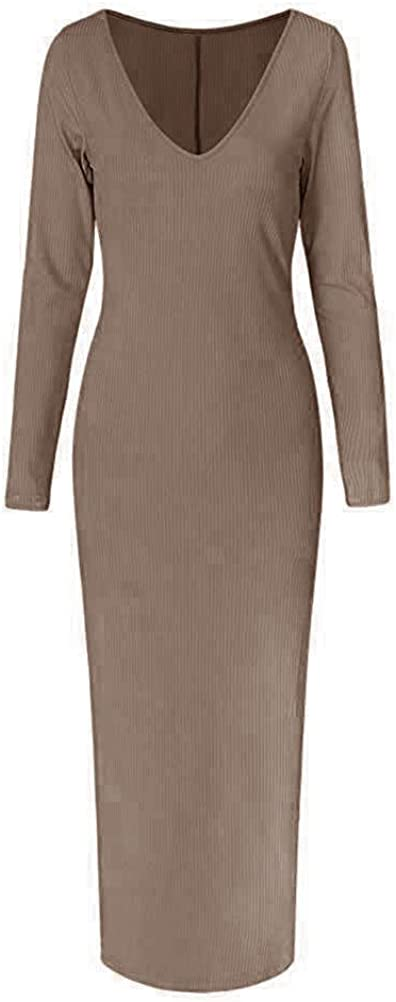 Tomwell Donna Maglione Vestito Manica Lunga con Senza Spalline Scollo a V e Pullover Vestito Pacchetto Hip Vestito Sottile