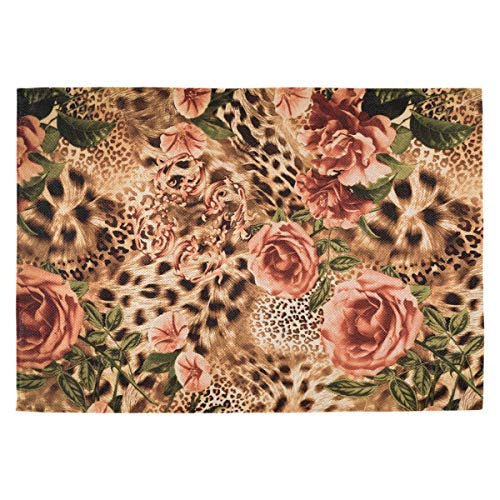 Oarencol Vintage Leopard Flower Rose Print Animal Floral Placemats Table Mats Set of 6, Heat-Resistant Washable Clean Kitchen Place Mats for Dining Table Decoration