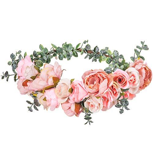 Balena fatta a mano, corona di fiori rosa, con 22 fiori, ghirlande floreali, ghirlanda di fiori artificiali, per matrimonio, sposa, festival, feste, foto
