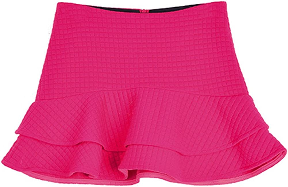 queenneeup Women's Quilted Flare Mini Skirt, Small, Hot Pink
