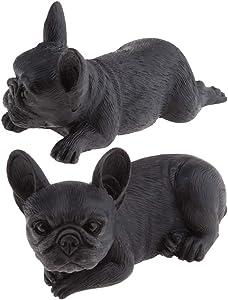 Fenteer 2 X Bulldog Francese Figurine Modello Animale Statua Giardino Decorazione Domestica Nero - Nero