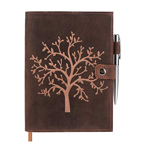 Refillable Leather Journal Lined Notebook - Embossed Tree of Life – Handcrafted Genuine Leather Notebook for Men and Women with Pen Holder – Includes Premium-Milled A5 Lined Paper & Luxury Pen
