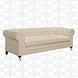 Elle Decor Amery Chesterfield Tufted Sofa, Mid-Century Modern Upholstered Couch with Rolled Arms, Plush Cushions, Ivory 91' Tufted Sofa