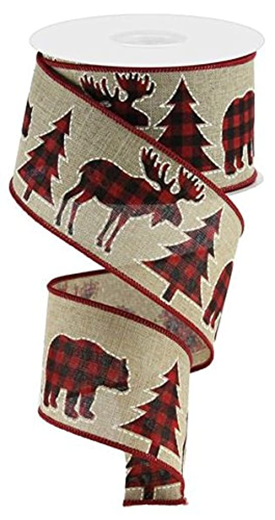 Plaid Moose, Bear, and Trees Wired Edge Ribbon, 2.5