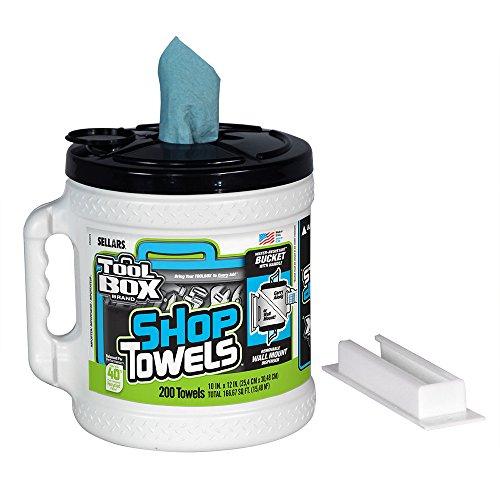 Sellars 55208 Toolbox Shop Towels Dispenser Bucket, 12