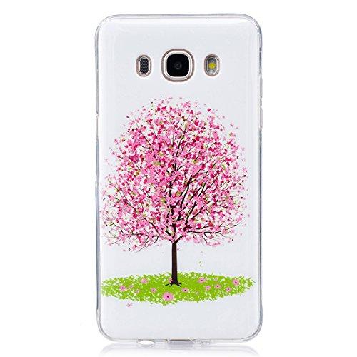 ISAKEN Compatibile con Samsung Galaxy J5 2016 Custodia, Agganciabile Luminosa Caso con Lampeggiante Ultra Sottile Morbido TPU Cover Rigida Gel Silicone Protettivo Custodia - Albero Rosa