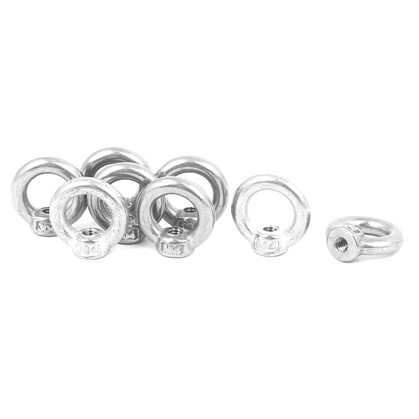 uxcell M4 Thread Dia 304 Stainless Steel Ring Shape Eyed Bolt Lifting Eye Nut 8PCS