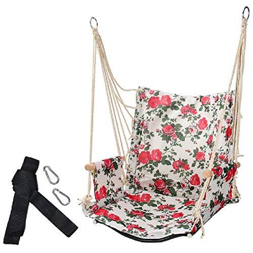 Balançoires YXX Hamac Chaise Hanging avec Bois Accoudoirs, Grande Corde Balancelle de Porche for Le Salon et Chambre à Coucher, Capacité 100 kg (Color : Style-2)