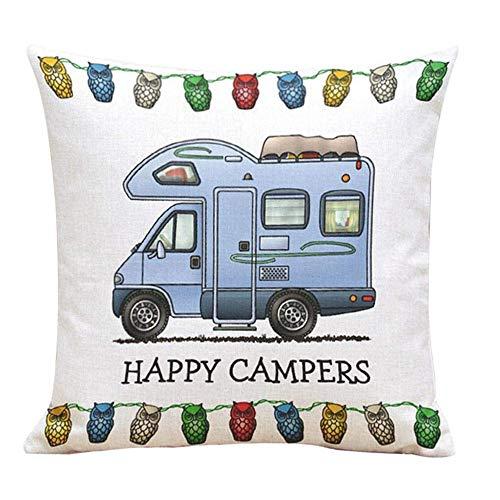 Benrise Happy Camper Decoratief Katoen 18 X 18 Dubbelzijdig Leuke Gelukkig Camping Grote Rv Coach RV Kussensloop Slaapbank Bed Decoratieve Kussensloop Willekeurige levering
