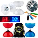 Henrys BEACH - FREE HUB Diabolo Set With VEGA LED Kits + Coloured ALUMINIUM Handsticks + Learn DVD + Travel Bag! Ultra Bright LED Light Kits on Bearing Diablo (Red Diabolo / Orange Handsticks)