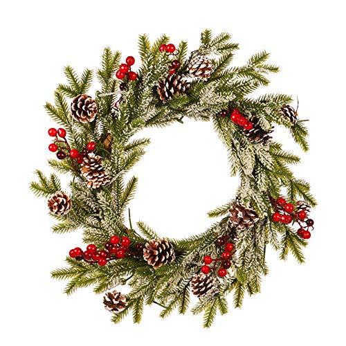 Ghirlanda Natalizia, Ciondolo Bianco Floccato con Ornamenti di Brina, Decorazione Natalizia per Esterni per Decorazioni Natalizie per Ghirlande di Porte E Finestre (Rosso)