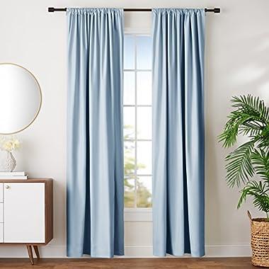 AmazonBasics Room-Darkening Blackout Curtain Set - 42  x 96 , Light Blue
