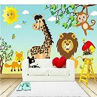カスタム壁画幼稚園漫画家動物ベビールーム部屋寝室の装飾壁画写真壁紙ライオン