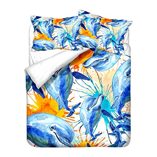 Duvet Cover Dolphin 3D Ocean Animal Bedding Set Seabed World Sunset Glow Sky Painted Quilt Cover With Zipper Microfiber Child Boy Girl (Style 4,Double 200x200 cm)