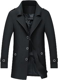 CEEN メンズ コート ジャケット トレンチコート 紳士 スリム 無地 ボタン 春秋 カジュアル 大きいサイズ M~4XL