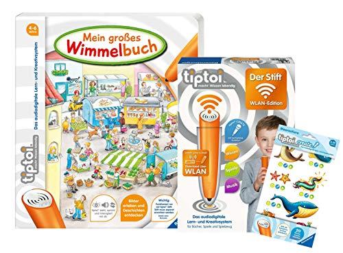 tiptoi Ravensburger Set: Buch Mein großes Wimmelbuch + 00036 - Der Stift - WLAN Edition + 1 X Create Sticker Verschiedene Auswahl