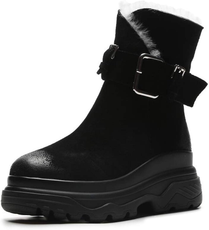 Women's Boots Suede New Winter Snow Boots Wedges Platform Boots Warm shoes Plush Cotton shoes Outdoor Walking shoes Black Brown (color   Black, Size   36)