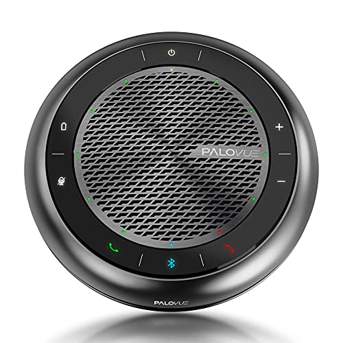 best speakerphone in 2021 for working from home PALOVUE Bluetooth Speakerphone, Touch Control USB Conference Speaker and Microphone with CVC 8.0 Noise Cancelling and 360° Enhance Voice Pickup, 15Hours Calling Time for Home Office