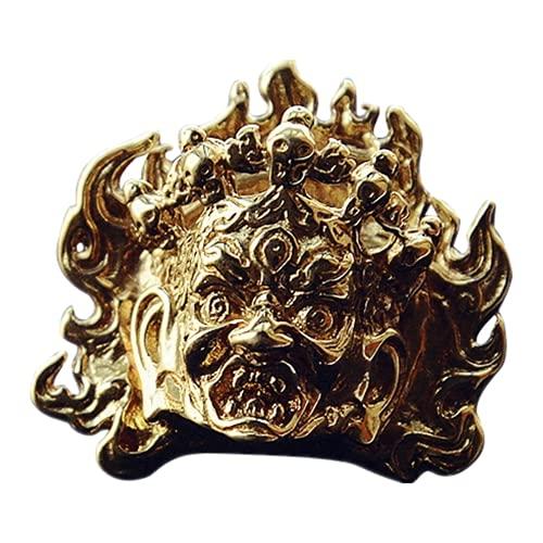 God of Wealth - Botón de metal retro de latón antiguo para pantalones vaqueros de cobre y chaqueta, botón...