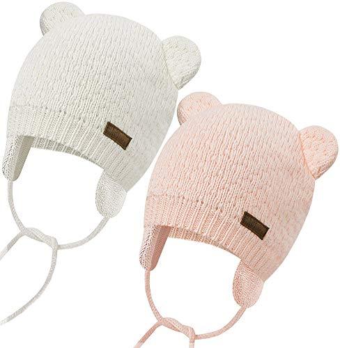 Unisex - Baby Mütze Beanie Strickmütze Unifarbe Wintermütze Mütze mit Ohrenklappen und Bindebändern, Pink + Beige, S(36-41cm)