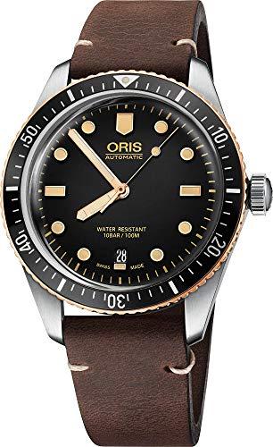 Oris Divers 73377074354LSDRKBRN - Reloj de pulsera para hombre, esfera negra, correa de piel