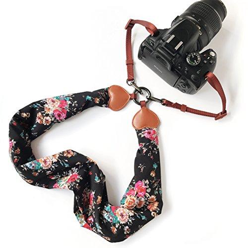 Alled Tracolle per Macchine Fotografiche,Cinghia Fotocamera Bohemia Vintage Spalla Cinghia Reflex per DSLR SLR Nikon Canon Sony Lumix Olympus Samsung Pentax Fujifilm Universale (Sciarpa Nera + Fibbia)